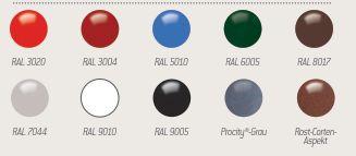 10 verschiedene Standard-RAL-Farben zur Wahl