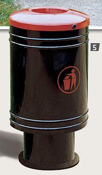 Abfallkorb GASCOGNE 60 Liter auf zylinderfoermigem Stahlfuss