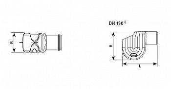GRAF Ueberlaufsiphon mit und ohne Kleintierschutz : Skizze DN 150