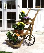 Holz Blumenkarre 1/Stck  ,Breite:68cm ,Tiefe:24cm ,Höhe:17cm