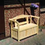 Holz Friesenbank mit Kissenbox 1/Stck ,Länge:130cm ,Tiefe:50cm ,Höhe:93cm