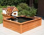 Holz Terrassenteich mit Wassermühle 1/Stck