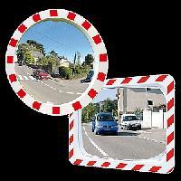Unzerbrechliche Spiegel  Polymir® mit rot-weissem Rahmen
