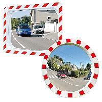 Unzerbrechliche Spiegel  P.A.S� mit rot-weissem Rahmen