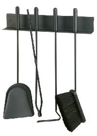 <b>HEIBI</b> Kaminbesteck f�r Wandmontage, schwarz-glimmer, 4-teilig, 50 cm