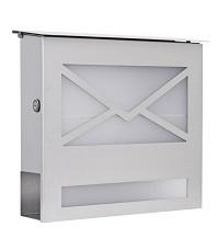 HEIBI Briefkasten mit Zeitungsfach und Glasfront 1/Stck ,Modell:43809 ,Farbe:Edelstahl/Glas