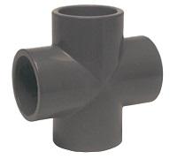 AQUIVA® PVC Kreuzstück 90°, grau