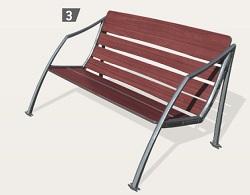 Sitzbank MILAN mit Rückenlehne