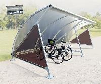 Halbmond-Überdachung mit Fahrradständer