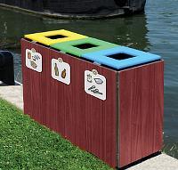 Abfallsortierbeh�lter aus Holz 3 x 50 Liter