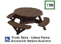 C.R.P. - runder Picknick-Tisch mit Schirm-Loch T50/T50WC