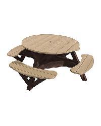 C.R.P. - 2-farbiger runder Picknick-Tisch m. Schirm-Loch T50/T50WC