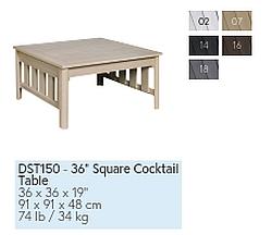 DST150 eckiger Cocktail-Tisch / Farbtabelle