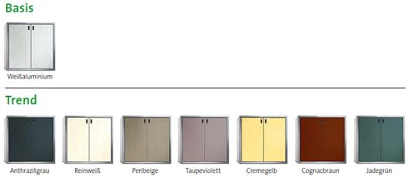 Farbtabelle (Beispiele hier als Schrank abgebildet)