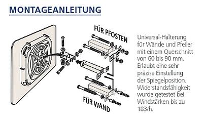Montageanleitung Mehrzweckspiegel Polymir® eckig