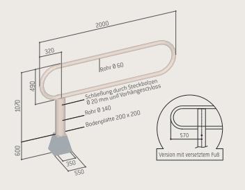 Zeichnung drehbare Schranke - ACHTUNG mit versetztem Fuss = Länge 2500 mm