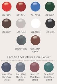 Standard-RAL-Farben und Spezialfarben für Linie Convi®
