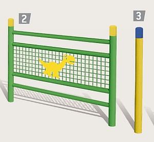 2 = Gel�nder LINEA mit Deko, 3 = Kreuzungspfosten
