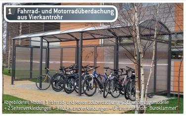 Fahrrad- und Motorrad-Überdachung aus Vierkantrohr