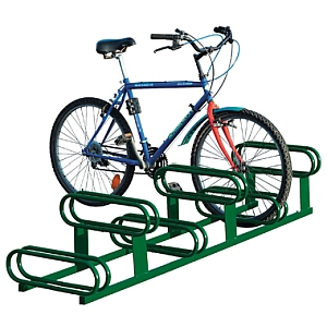 Fahrradständer - 6 höhenversetzte Plätze, fverz. + beschichtet