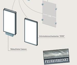 Seitenverkleidung aus Sicherheitsglas, Informationsschaukasten 2000, beleuchteter doppelseitiger Caisson