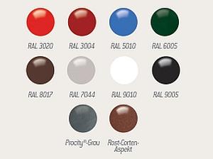 Farbauswahl/Farbtabelle für Schaukasten 2000 + Caisson