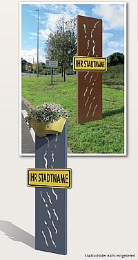 Stadteinfahrt VENDIG (Stadtschild nicht mitgeliefert), optional mit Blumenbehälter