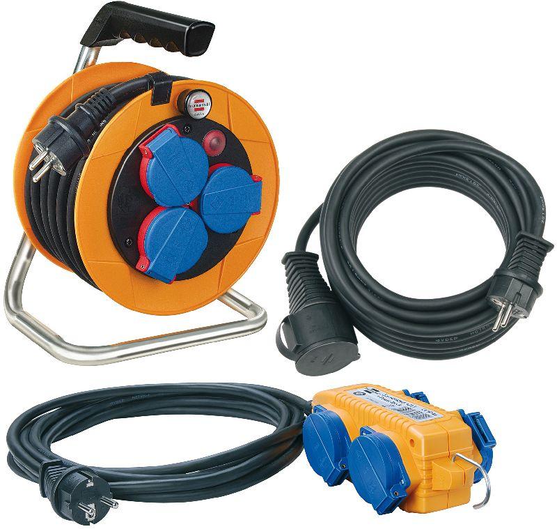 Power-Pack IP44 Kabeltrommel 10m H07RN-F 3G1,5/ Verlängerungsleitung 10m H07RN-F 3G1,5/ Stromverteiler 5m H07RN-F 3G1,5