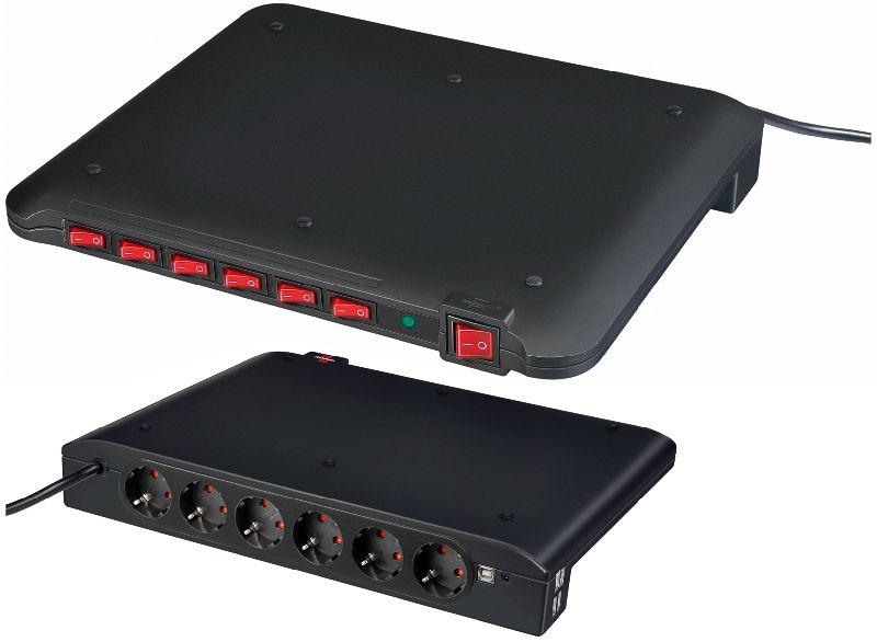 Power Manager PMA USB 19.500A �berspannungsschutz 6-fach, USB-Anschl�sse 4 2m H05VV-F 3G1,5