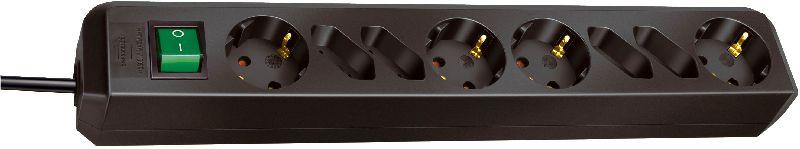 Eco-Line Steckdosenleiste mit Schalter 4 Schutzkontakt- und 4 Euro-Steckdosen schwarz 1,5m H05VV-F 3G1,5