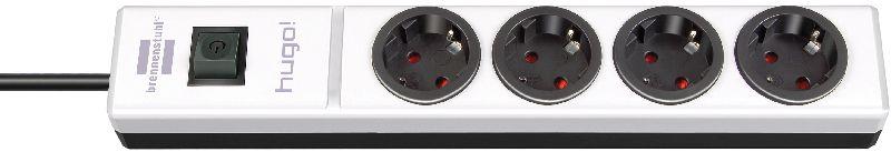 hugo! Steckdosenleiste 4-fach weiß/schwarz 2m H05VV-F 3G1,5