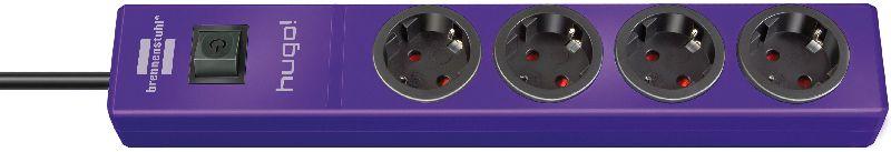 hugo! Steckdosenleiste 4-fach violett 2m H05VV-F 3G1,5
