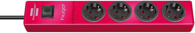 hugo! Steckdosenleiste 4-fach rubinrot 2m H05VV-F 3G1,5
