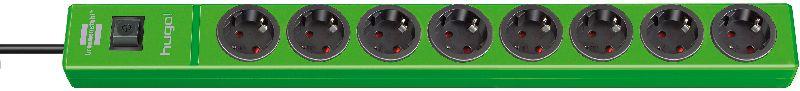 hugo! Steckdosenleiste 8-fach grün 2m H05VV-F 3G1,5