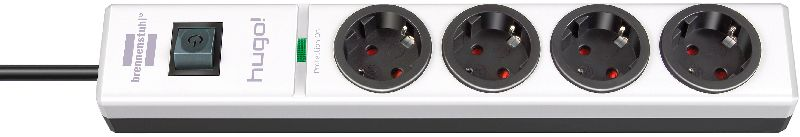 hugo! 19.500A �berspannungsschutz-Steckdosenleiste 4-fach wei�/schwarz 2m H05VV-F 3G1,5