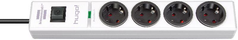 hugo! 19.500A Überspannungsschutz-Steckdosenleiste 4-fach weiß 2m H05VV-F 3G1,5