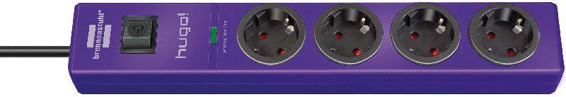 hugo! 19.500A Überspannungsschutz-Steckdosenleiste 4-fach violett 2m H05VV-F 3G1,5