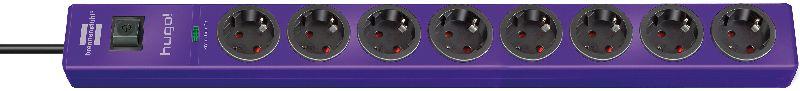 hugo! 19.500A �berspannungsschutz-Steckdosenleiste 8-fach violett 2m H05VV-F 3G1,5