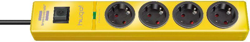 hugo! 19.500A Überspannungsschutz-Steckdosenleiste 4-fach gelb 2m H05VV-F 3G1,5