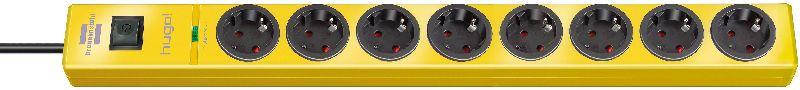 hugo! 19.500A Überspannungsschutz-Steckdosenleiste 8-fach gelb 2m H05VV-F 3G1,5