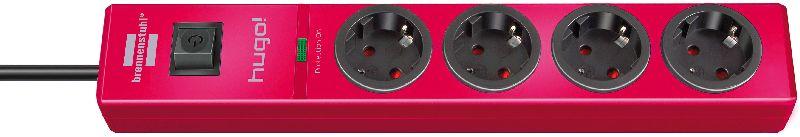 hugo! 19.500A �berspannungsschutz-Steckdosenleiste 4-fach rubinrot 2m H05VV-F 3G1,5