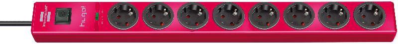 hugo! 19.500A �berspannungsschutz-Steckdosenleiste 8-fach rubinrot 2m H05VV-F 3G1,5