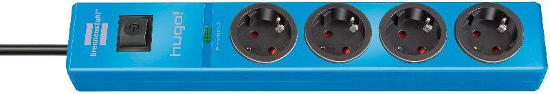 hugo! 19.500A �berspannungsschutz-Steckdosenleiste 4-fach blau 2m H05VV-F 3G1,5