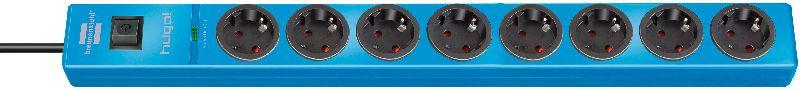 hugo! 19.500A Überspannungsschutz-Steckdosenleiste 8-fach blau 2m H05VV-F 3G1,5