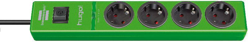 hugo! 19.500A Überspannungsschutz-Steckdosenleiste 4-fach grün 2m H05VV-F 3G1,5