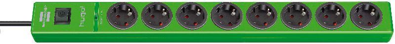 hugo! 19.500A Überspannungsschutz-Steckdosenleiste 8-fach grün 2m H05VV-F 3G1,5