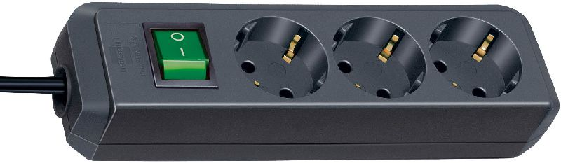 Eco-Line Steckdosenleiste mit Schalter 3-fach schwarz 1,5m H05VV-F 3G1,5