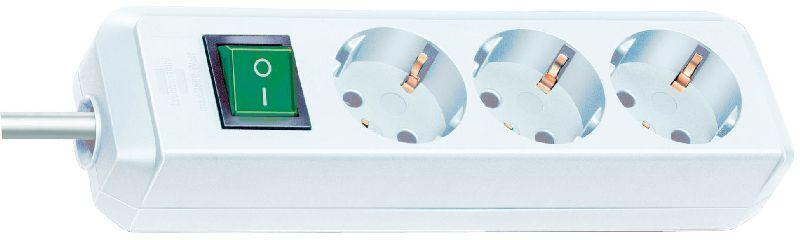 Eco-Line Steckdosenleiste mit Schalter 3-fach weiß 1,5m H05VV-F 3G1,5