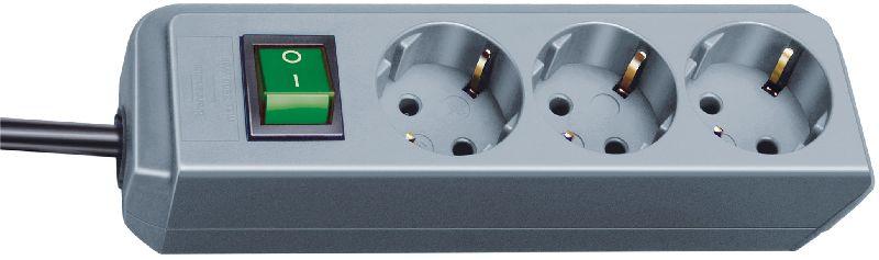 Eco-Line Steckdosenleiste mit Schalter 3-fach silbergrau 1,5m H05VV-F 3G1,5