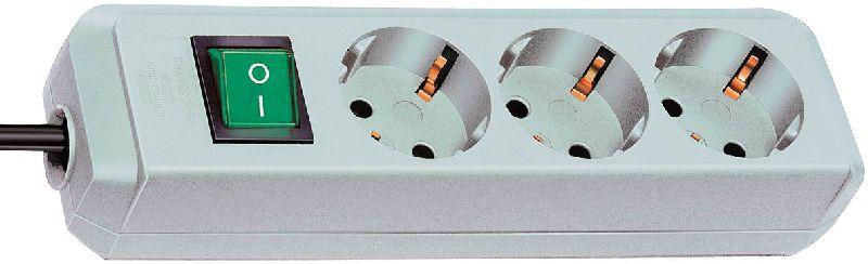 Eco-Line Steckdosenleiste mit Schalter 3-fach lichtgrau 1,5m H05VV-F 3G1,5